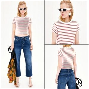 Zara red and white striped crop top
